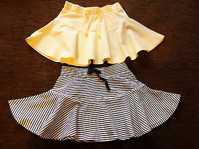 Girls' 2 Pack Matalan Cotton Yellow Hooped Skirts 18-23 Months New