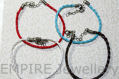 "4 x Mixed Faux Leather Charm Bracelets Approx 19cm 7"" Long 3.0mm Diam Clasps"