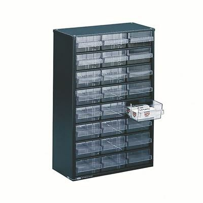 Clear 24 Drawer System Dark Grey Storage Cabinet 324124 [SBY11352]