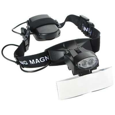 5 Lens LED Light Lamp Loop Head Headband Magnifier Magnifying Glass Loupe Y9I2