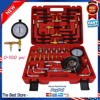 0-140PSI Fuel Injection Pump Injector Tester Kit Test Pressure Gauge for truck X
