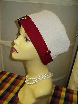 ladies beige/red polyester cloche vintage style hat with butterfly size 62 cm