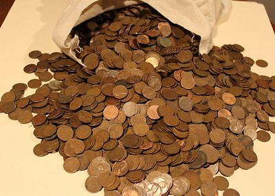 Unsearched 5000 Pc Coin Bag Of Lincoln Wheat Cents/pennies Average Circulated