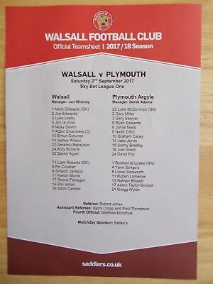 Walsall V Plymouth Argyle Official Coloured Teamsheet 2Nd September 2017