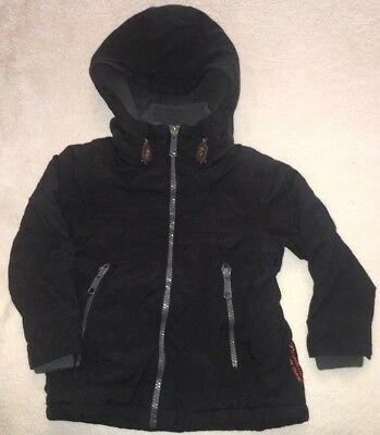 Boys NEXT Age 3 Black Coat Warm Winter Jacket Clothes School Vgc