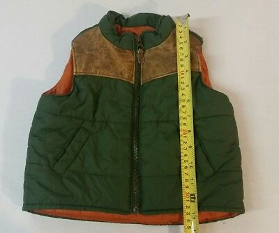 Baby Gap Toddler Boy Puffer size 12-18 Months olive green orange w/ leather