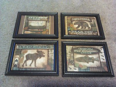 4 Lodge Pictures Moose Fish Bear Log Cabin Wall Hanging Decor 4pc Set Rustic