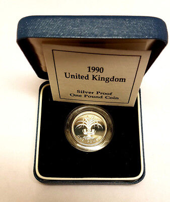 1990 £1 Silver Proof One Pound Pounds Coin Royal Mint