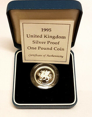 1995 £1 Silver Proof One Pound Pounds Welsh Dragon Coin Royal Mint