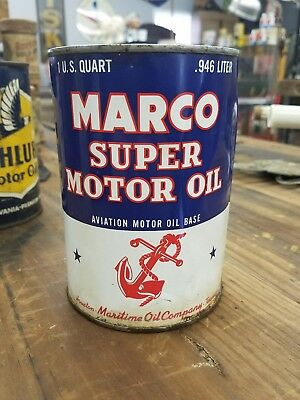 Rare Vintage Marco Super Motor Oil Can One Quart Maritime Oil Co. Houston Texas