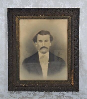 Antique 19th Century Charcoal Portrait Painting of American West Gentleman 20x16