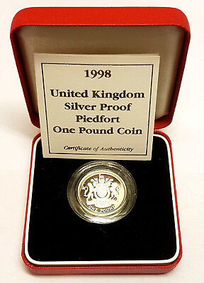 1998 £1 Piedfort Silver Proof One Pound Pounds Coin Royal Mint