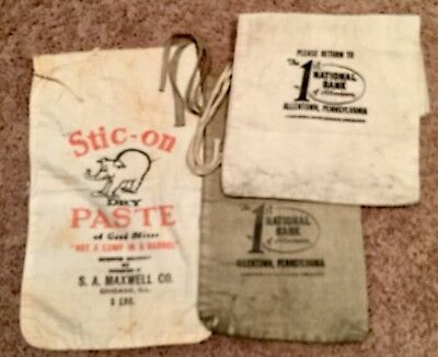 Vintage Federal  Bank Lot of 2 Cloth Money Deposit Bags very used condition