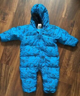 Columbia Baby Boys Feather Down Bunting Puffer Snow Suit  Blue 18 Months