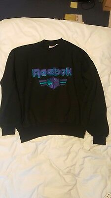 Retro Vintage Black Reebok Sweater Jumper Medium M