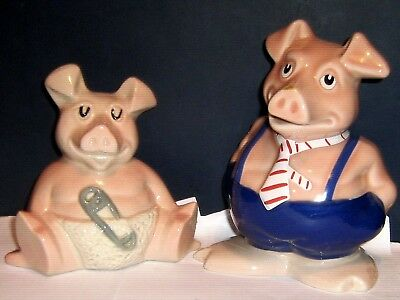 2 x 1980 NATWEST WADE GLAZED POTTERY PIGS - WOODY & MAXWELL - FREE UK POSTAGE