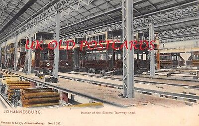 South Africa -  JOHANNESBURG, Interior of Electro Tramway Shed, Trams