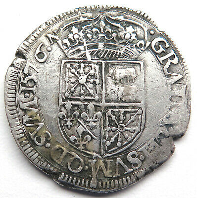 Teston 1576, Navarra France, Heinrich II. (1562-1598)
