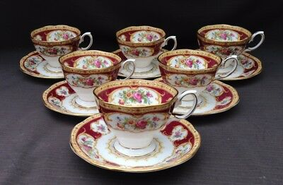 Royal Albert 'Lady Hamilton' - 6 x Coffee Cups & Saucers - Excellent