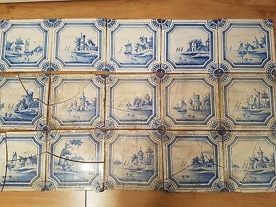 15 X Beautiful Antique Dutch Delft Tiles