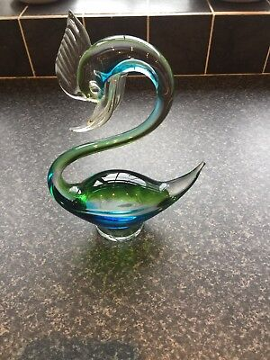 Green And blue Glass Swan Ornament