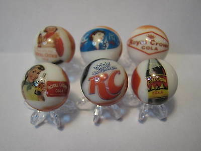 RC COLA SODA POP GLASS MARBLES 5/8 SIZE COLLECTION LOT with STANDS