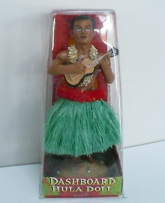 Dashboard Dancer Hula Hawaiian Man Guy Doll Ukulele Aloha Lei Hawaii