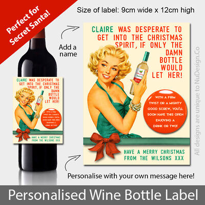 Personalised Fun Christmas Wine Bottle Label for those Office Secret Santa Gifts