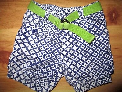 Old Navy Blue White Diamond Green Belted Baby Girls Shorts Size 6-12 Months