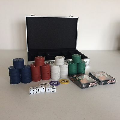 200 Plastic Chip Poker Set with Case Sealed Cards Dealer Blind Buttons and Dice