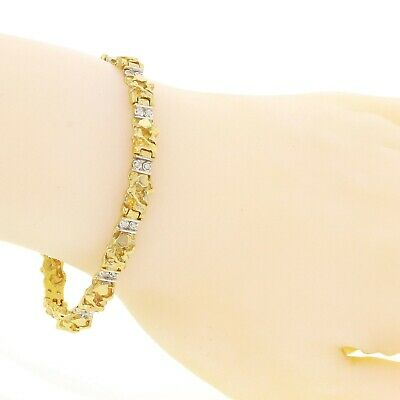 """New Solid 10K Yellow Gold Nugget Style Bracelet with Round Natural Diamond 7.75"""""""