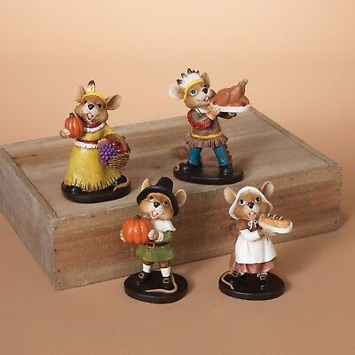 """4 Pc Hand Painted 5.25"""" Resin Thanksgiving Mice Figurine Set Tabletop Decor"""