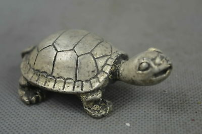 Collectible Handwork Old Miao Silver Carving Tortoise Ancient Longevity Statue
