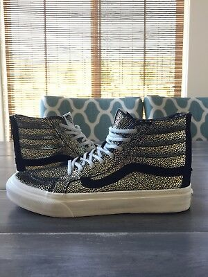 47e8ded19659bf VANS Womens Shoes High Top Sneakers SK8-HI SLIM ZIP Gold Dots Printed  Leather