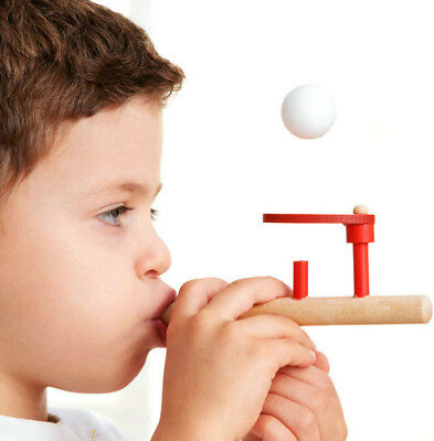 Blowing Balance Floating Wooden Flute Ball Educational Toy For Children x1 set