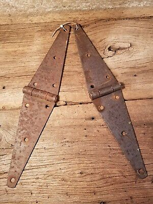 "Matching Pair of Vintage 16"" Barn Hinges Rusty Works Well! Primitive"
