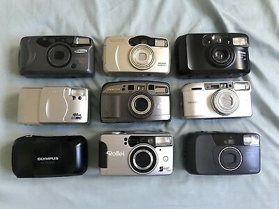 Lot Of 35mm Film Point And Shoot Cameras Pentax Olympus Samsung Nikon Rollei