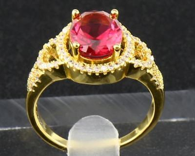 2.25Ct Natural Oval Ruby & 0.82Tcw Diamonds 14Kt Solid Yellow Gold Ring 6.5#
