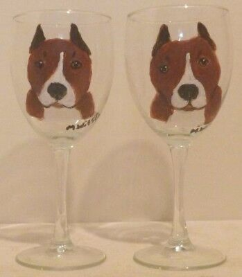 Hand Painted American Pit Bull Dog Wine Glasses set of 2 pitties