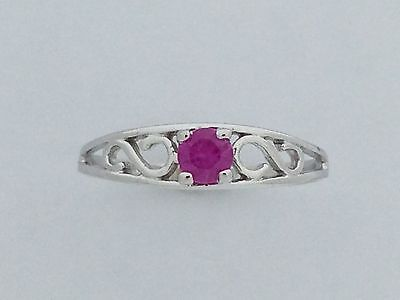 Baby Ring Genuine Pink Sapphire Solid 10kt White Gold