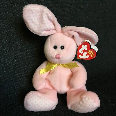 393000d8231 Ty Beanie Baby 2008 Valley Rabbit Easter Bunny Pink Yellow Polka Dots  Spring Toy