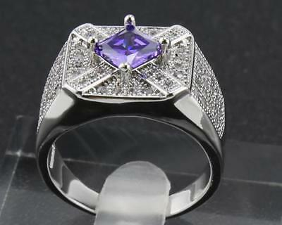 1.84Ct Natural Tanzanite & Round Diamond 14Kt Solid White Gold Ring Size 8.5#