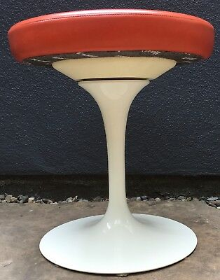 Knoll Eero Saarinen Tulip Swivel Stool Orange Vinyl