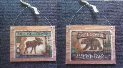 Rustic Outhouse Pictures Moose Bear Silhouette Lodge Log Wall Hangings Plaques