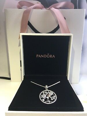 New Genuine Pandora Silver Family Tree Necklace 80cm With Pouch#390384CZ RRP£100
