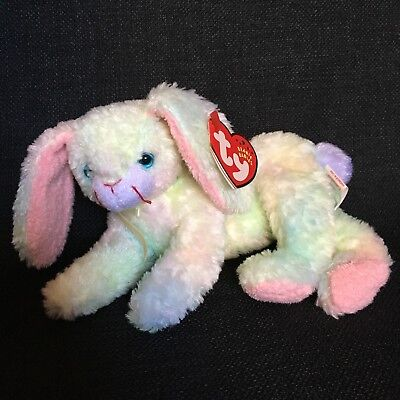 Ty Beanie Baby 2001 Cottonball Bunny Rabbit Easter Pastel Pink Yellow Green  Toy 09d17ca414de