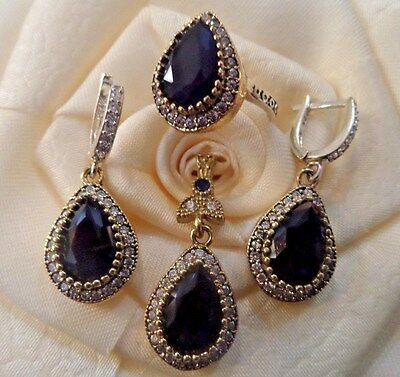 925 Sterling Silver Handmade Jewelry / Sublime Sapphire Stones Set Ring Size 8
