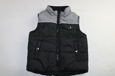 SIMPLY STYLED Boy's Puffer Bubble Vest BLACK GRAY Small (4) NEW