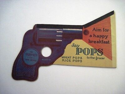 "Vintage Ad for ""POPS"" Wheat & Rice Cereals In The Shape of A Gun & Gun POPs *"
