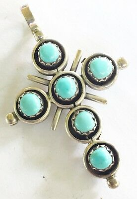 VTg ZUNI STERLING SILVER Sleeping Beauty TURQUOISE CORAL REVERSIBLE 2 Side CROSS